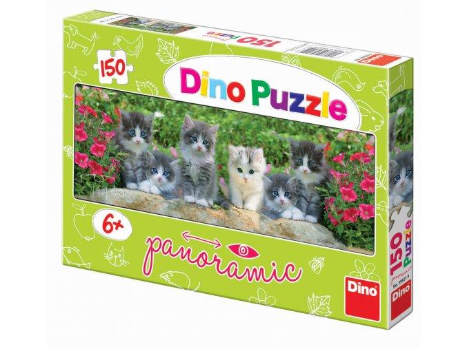 Koťátka na zahradě - panoramatické - 150 dílků