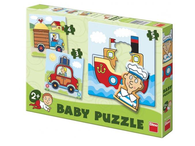 Baby puzzle pro nejmenší - dopravní prostředky - 3, 4, 5 dílků