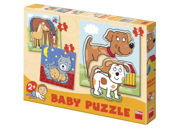 Baby puzzle pro nejmenší - Zvířátka - 3, 4, 5 dílků