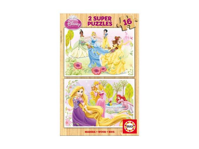 Walt Disney: Princezny - dřevěné 2 x 16 dílků