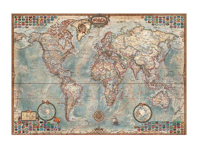 Politická mapa světa s vlajkami států