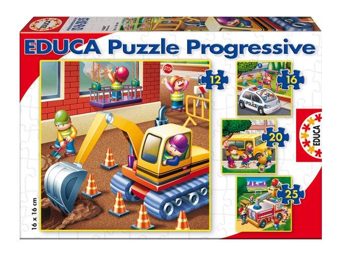 Dopravní prostředky - 4 obrázky - 12, 16, 20, 25 dílků - progressive puzzle
