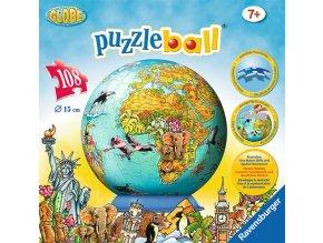 Dětská mapa světa - 3D puzzleball - 108 dílků