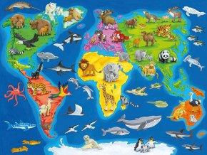 Mapa Světa se zvířaty - deskové  v rámečku