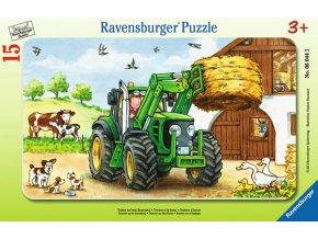 Traktor na statku - deskové v rámečku