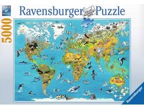 Mapa Světa se zvířaty
