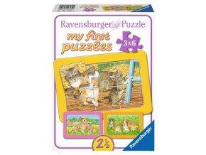 Moje první puzzle: Nejdražší mazlíčkové - 3 x 6 dílků - deskové