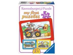 Moje první puzzle: Bagr, traktor a sklápěčka - 3 x 6 dílků - deskové
