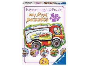 Moje první puzzle: Pracovní stroje a auta  - 6 x 2 dílky