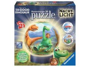 Hodný dinosaurus - puzzleball 72 dílků - 3D svítící LED - zapne a vypne na tlesknutí