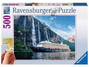 Zaoceánský parník Mein Schiff 4 ve fjordu - Gold edition - puzzle s většími dílky