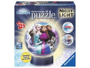 Walt Disney: Frozen - puzzleball 72 dílků - 3D svítící LED - zapne a vypne na tlesknutí