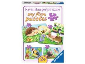 Moje první puzzle: Obyvatelé zahrad - 2, 4, 6, 8 dílků