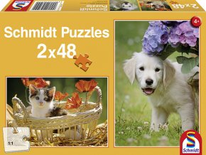 Kočička a pejsek - 2 x 48 dílků