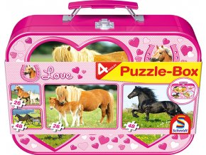 Koně - 4 puzzle v kovovém kufříku - 2 x 48, 2 x 26 dílků