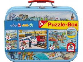 Dopravní prostředky (Vehicles) - 4 puzzle v kovovém kufříku - 2 x 48, 2 x 26 dílků -