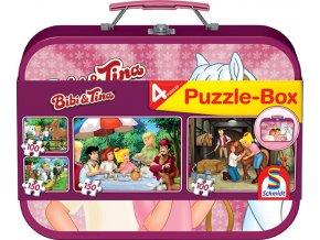 Bibi & Tina - 4 puzzle v kovovém kufříku - 2 x 100 + 2 x 150 dílků