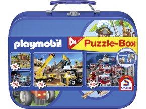 Playmobil - 4 puzzle v kovovém kufříku - 2 x 60, 2x 100 dílků