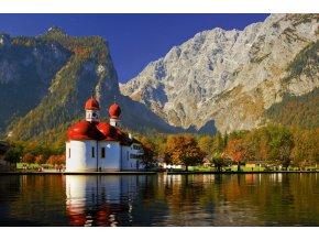 Kostel Sv. Bartoloměje, jezero Königssee, Německo