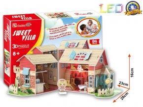 """Dům pro panenky """"Sladká vila (Sweet Villa)"""" - 3D svítící (LED) - 84 dílky"""