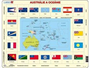 Mapa Austrálie a Oceánie + vlajky - deskové