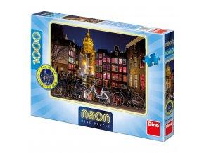 Noční Amsterdam - neon - svítící