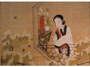 Chinese Art: Dáma s broskvovými květy (Lady mirroring peach blossoms)