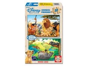 Walt Disney: Kamarádi zvířata - dřevěné - 2 x 50 dílků