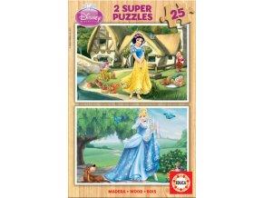 Walt Disney: Popelka a Sněhurka - dřevěné - 2 x 25 dílků