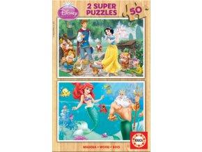 Walt Disney: Sněhurka a Malá mořská víla - dřevěné - 2 x 50 dílků