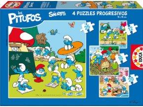Šmoulové - 4 obrázky - 12, 16, 20, 25 dílků - progressive puzzle