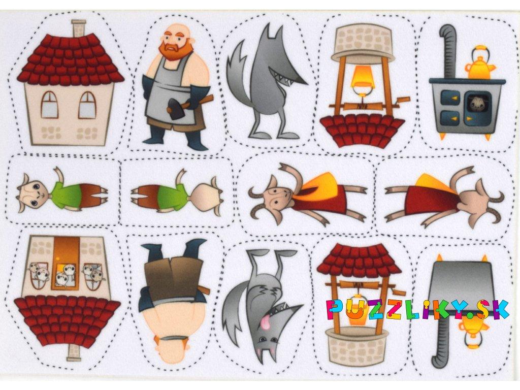 O siedmich kozliatkach - maňuška/maňásek - plstený panel