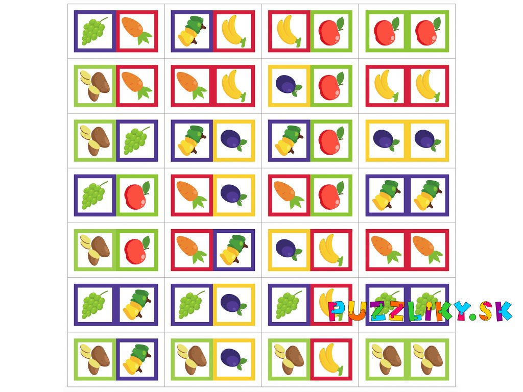 Ovocie a Zelenina Domino - bavlnený panel