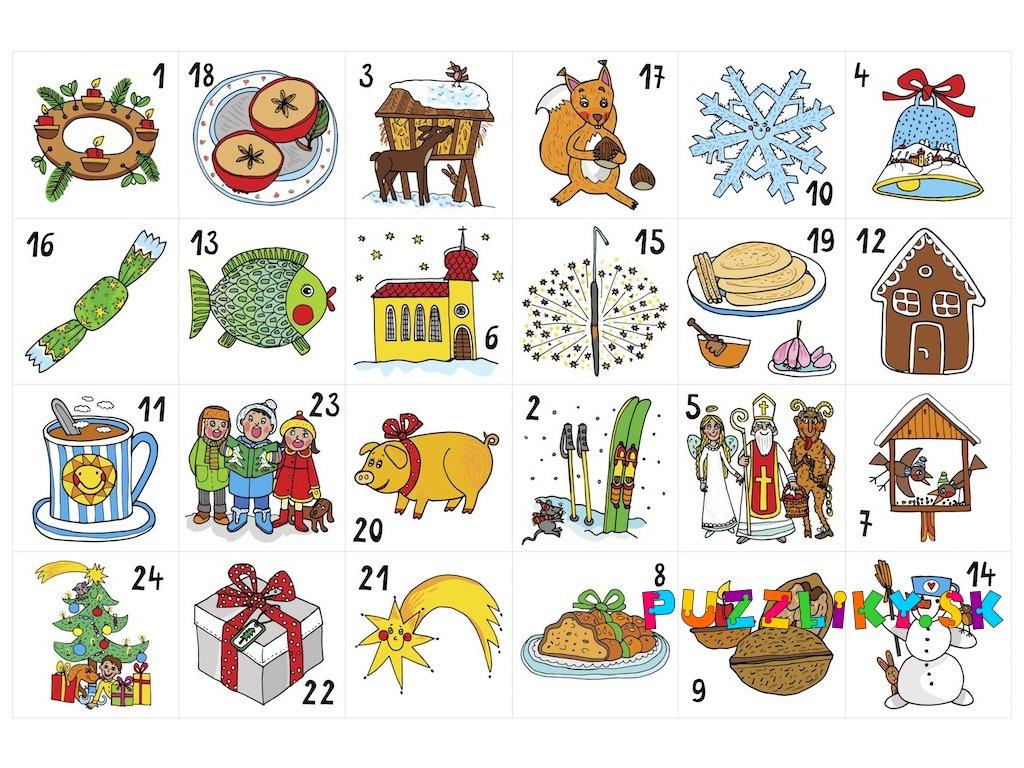 Tradičné ilustrácie na adventný kalendár - plstený panel