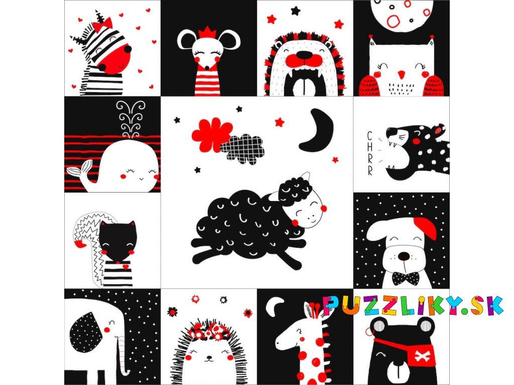 """Čiernobiele """"Krásne sníčky"""" Leporelo/Patchwork/Podložka - bavlnený panel"""
