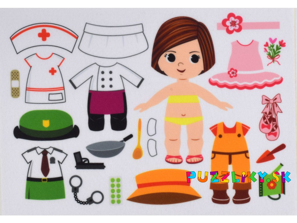 Obliekanie dievčatko/holčička povolania - doktorka, policajtka, baletka, záhradníčka, kuchárka - plstený panel