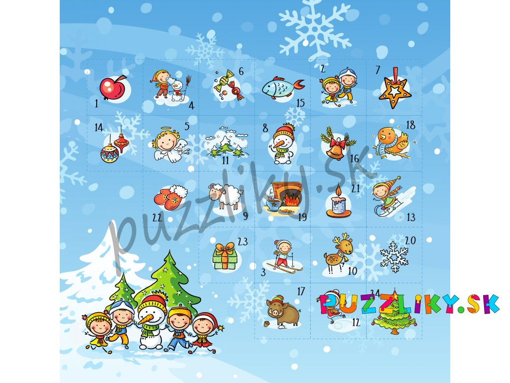 Kreslený adventný kalendár - bavlnený panel