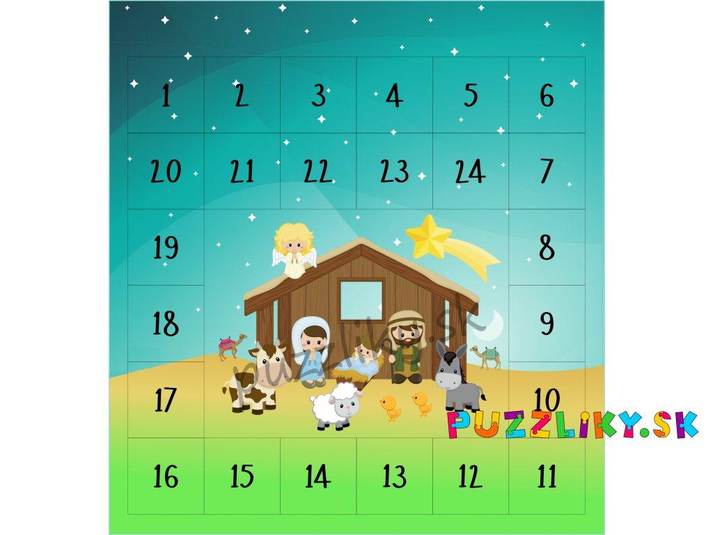 Betlehem/Betlém adventný kalendár - bavlnený panel