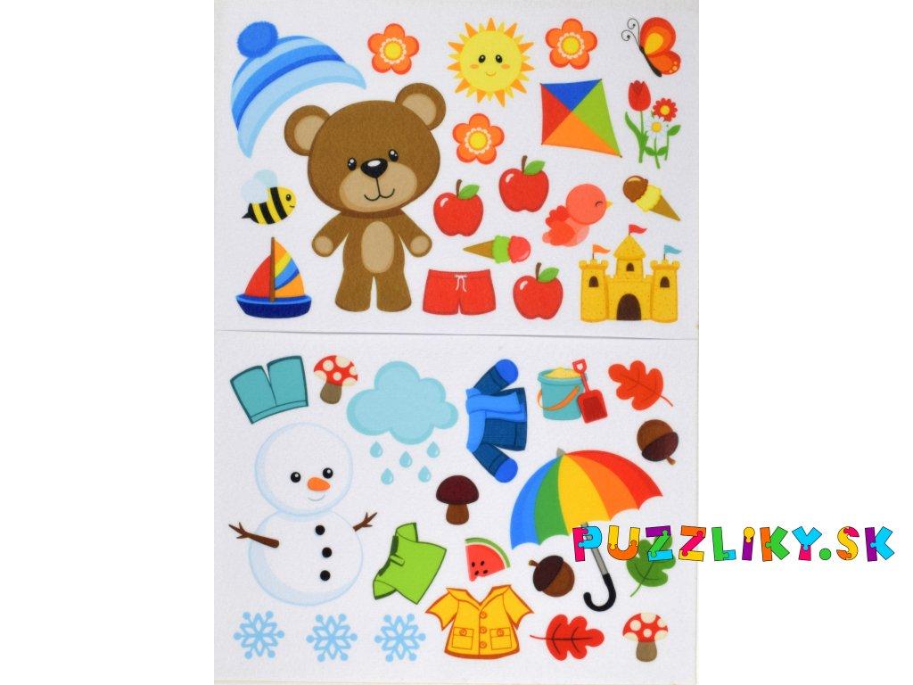 Medvedík a ročné obdobia - plstený panel
