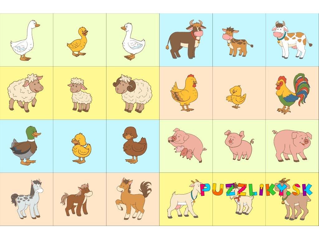 Zvieracie rodinky - bavlnené (tri)pexeso
