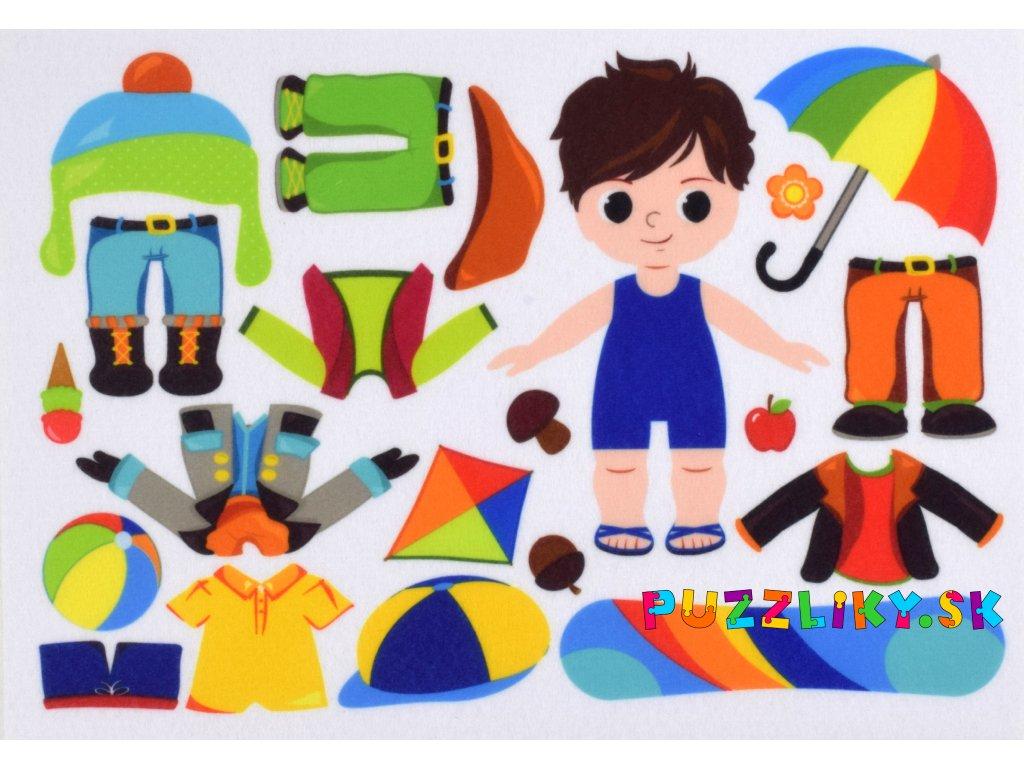 Obliekanie chlapčeka počas roka - plstený panel