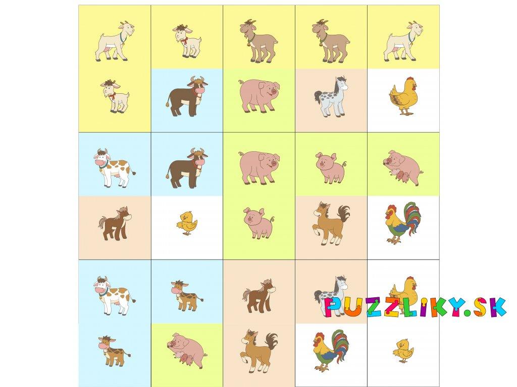 Zvieracie rodinky Domino - bavlnený panel
