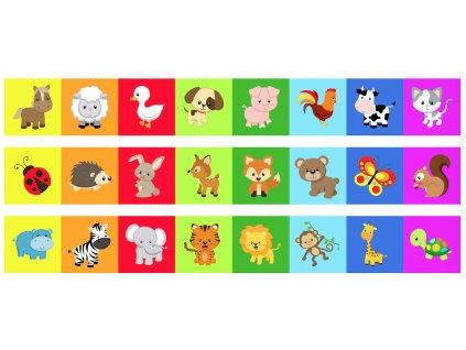 Zvieratká Farebné Leporelo Farma, Les, Safari - bavlnený panel