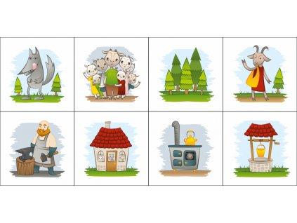O siedmich kozliatkach - bavlnené kartičky