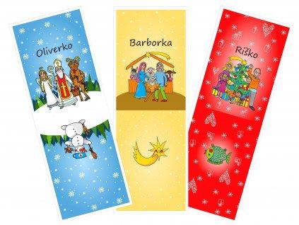 Mikulášske a Vianočné vrecká/pytlíky s menom (ilustrovaná kolekcia) - bavlnený panel