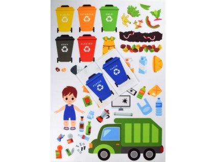 Triedenie/recyklácia a smetiarske/popelářské auto - plstený panel