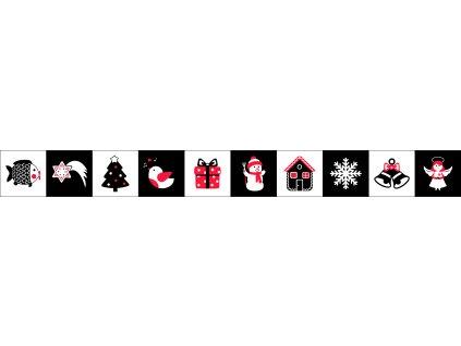 Vianočné Čiernobiele Leporelo - bavlnený panel