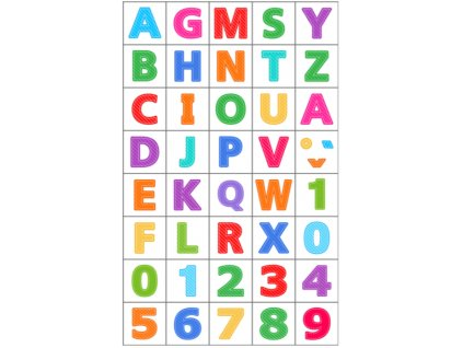 Písmenká a číslice - bavlnený panel