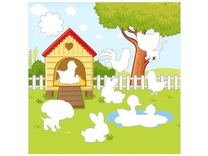 """Doplňovačka """"Na dvore"""" ako stránka - bavlnený panel s plsťou"""