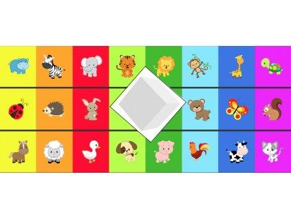 Zvieratká Farebná Kocka Farma, Les, Safari - bavlnený panel